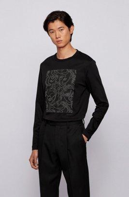 ロングスリーブ スリムフィットTシャツ オックスヘッドアートワーク, ブラック