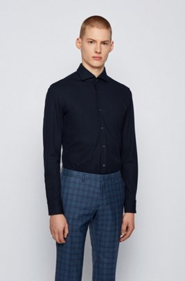Slim-fit shirt in knitted jersey with four-way stretch, Dark Blue