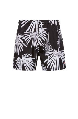 Quick-drying swim shorts with new-season motif, Light Grey