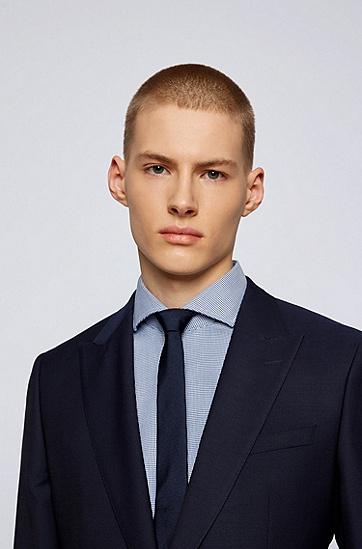 结构纹理易烫棉修身衬衫,  463_淡蓝色