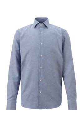 Fein strukturiertes Regular-Fit Hemd aus bügelleichter Baumwolle, Hellblau