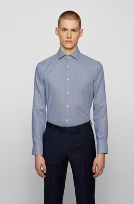 Regular-fit shirt in micro-structured easy-iron cotton, Light Blue
