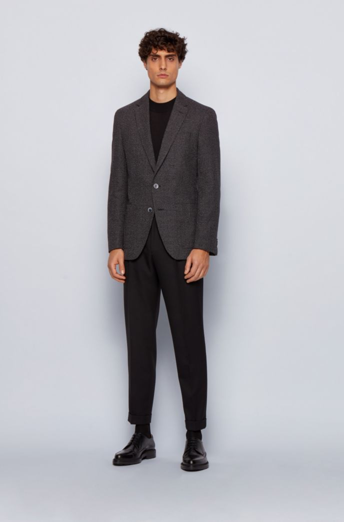 Slim-fit jacket in a micro-patterned cotton blend