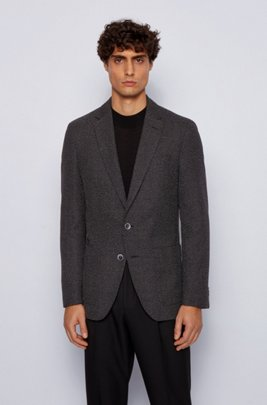 Slim-fit jacket in a micro-patterned cotton blend, Black