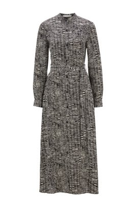 Long-length shirt dress with zebra-inspired print, Patterned