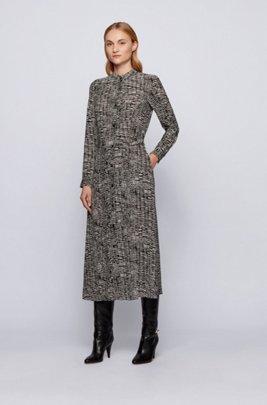 Long-length shirt dress with zebra-inspired print, Patterned