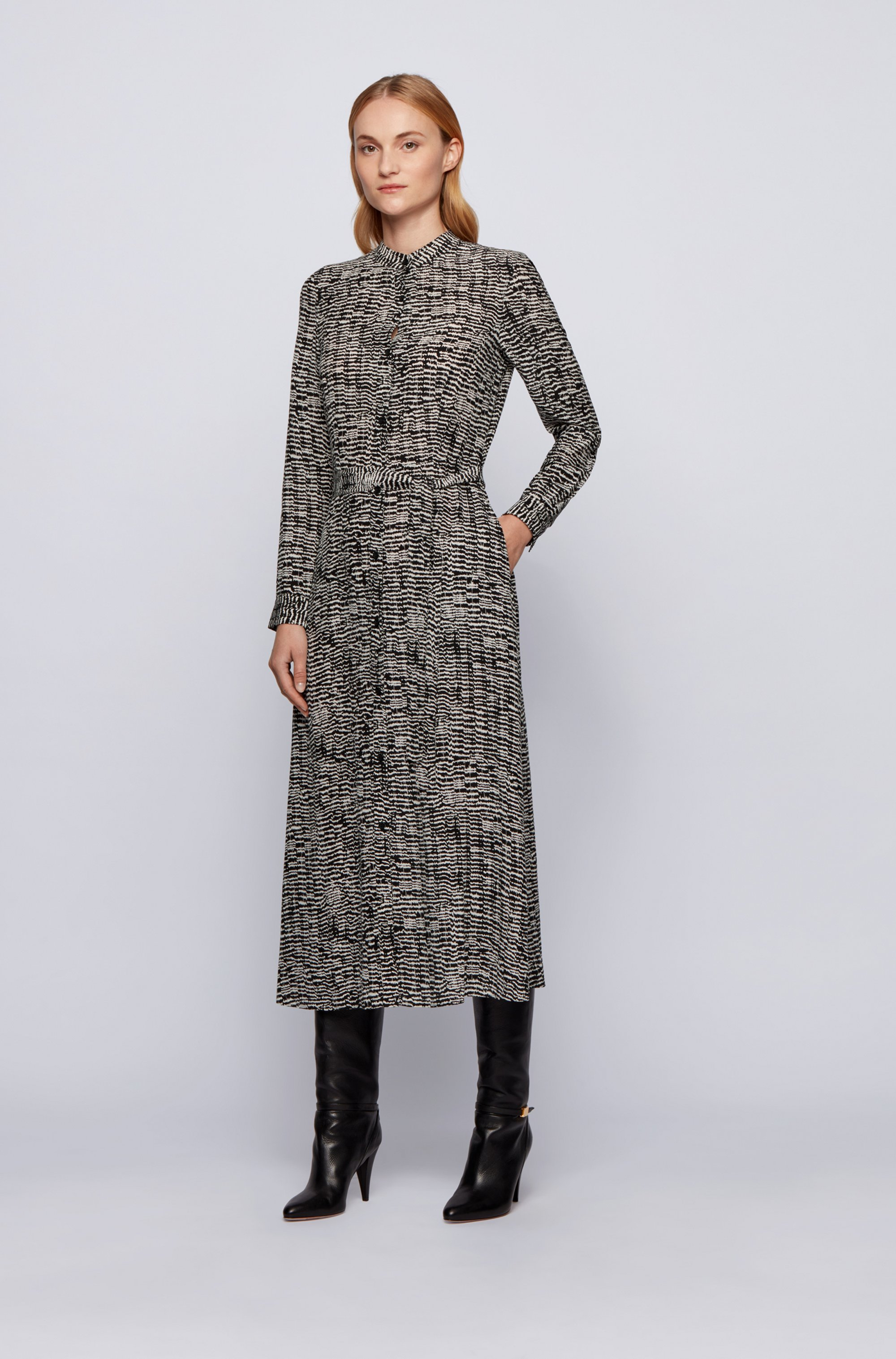 Long-length shirt dress with zebra-inspired print