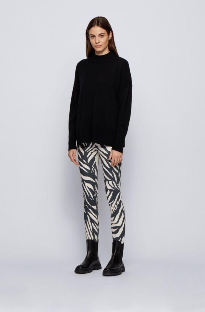 Skinny-fit jeans in printed stretch-satin denim