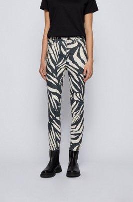 Skinny-fit jeans in printed stretch-satin denim, Black Patterned