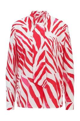 Regular-fit blouse van zijde met print en strikhals, Bedrukt