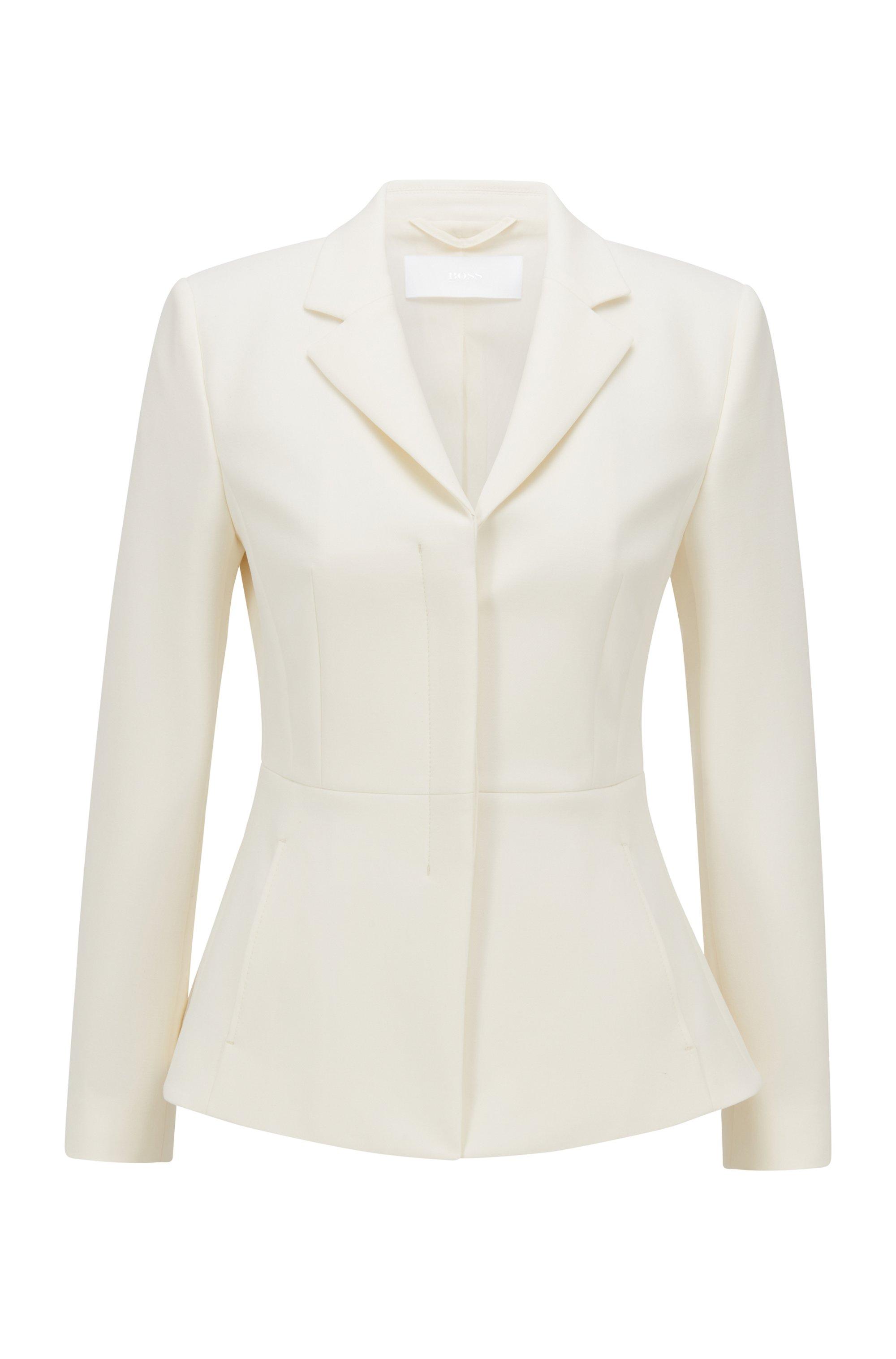 Regular-fit blazer met verdekte sluiting, Wit