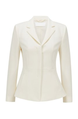 Regular-fit blazer met verdekte sluiting, Wit