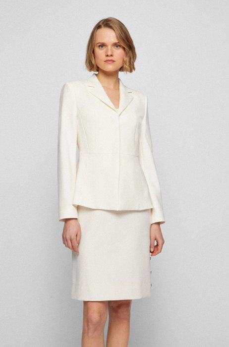 Regular-fit jacket with concealed closure, White
