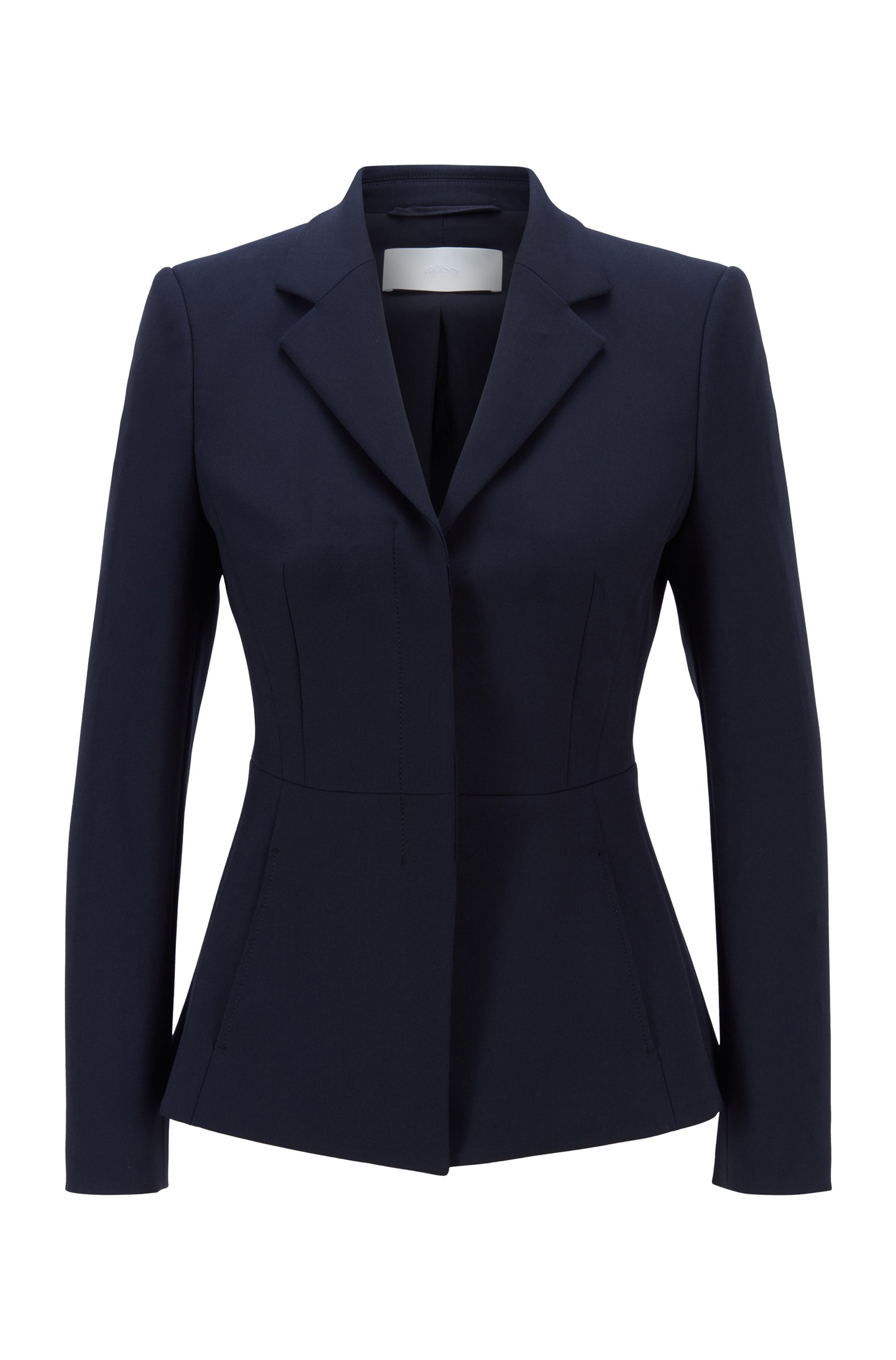 Regular-fit jacket with concealed closure, Dark Blue