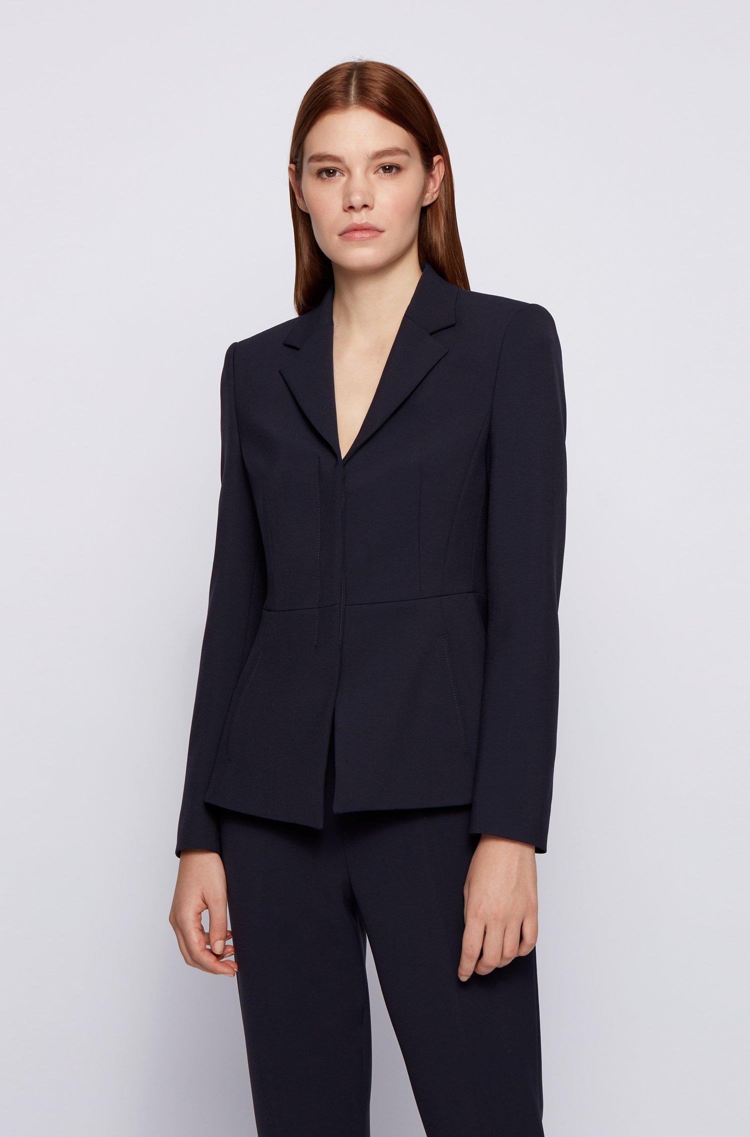 Regular-fit jacket with concealed closure, Dark Blue
