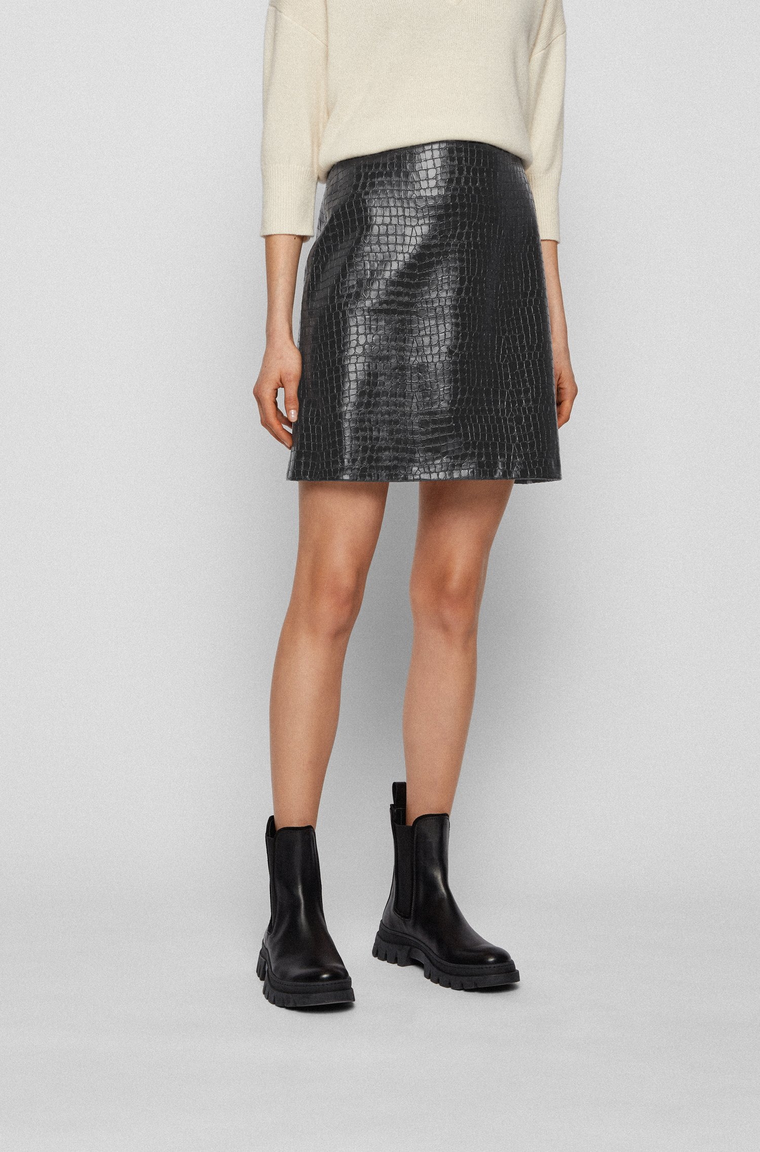 Faux-leather mini skirt with crocodile structure, Black