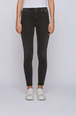 Skinny-fit jeans in mid-grey power-stretch denim, Dark Grey