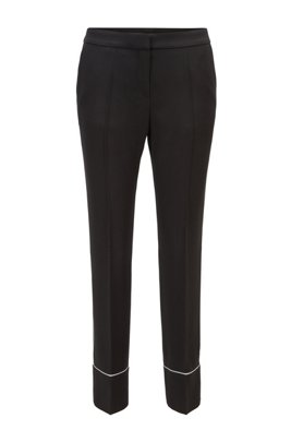 Relaxed-fit trousers in Italian crepe with contrast piping, Black
