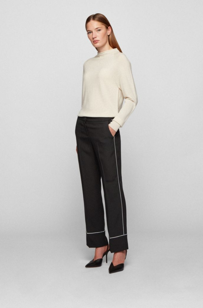 Relaxed-fit trousers in Italian crepe with contrast piping