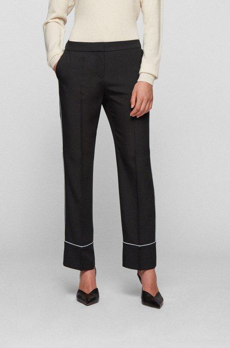 Pantalon RelaxedFit en crêpe italien avec passepoils contrastants, Noir