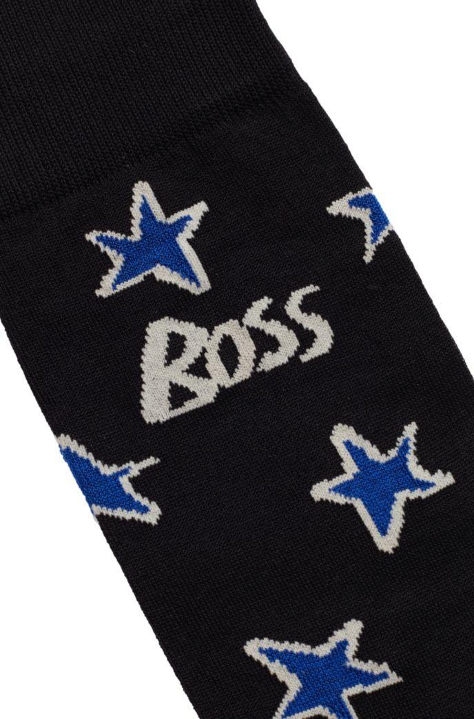 Mercerised-cotton-blend socks with stylised stars and logo