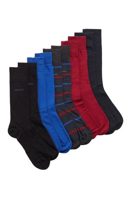 Five-pack of stretch-cotton-blend socks, Patterned
