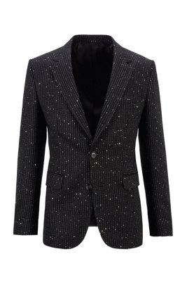 Single-breasted jacket with sequinned stripe, Black