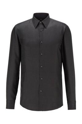 Camisa slim fit en sarga de seda italiana, Negro