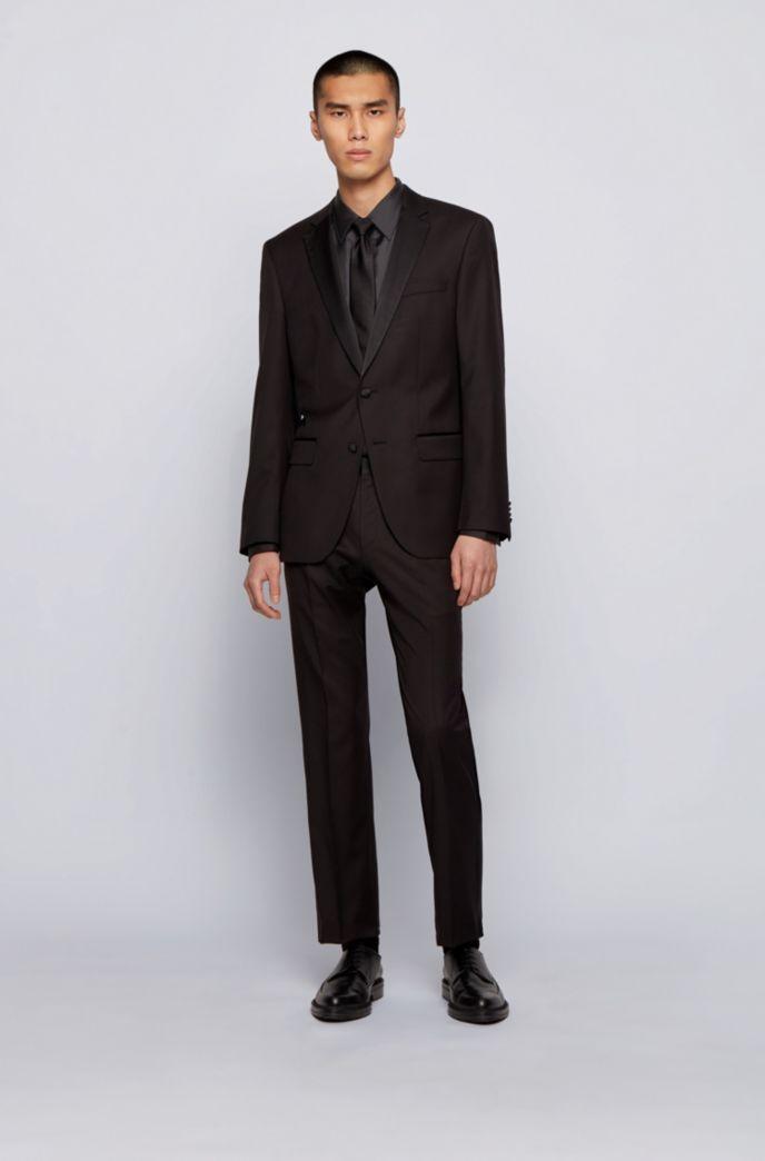 Camisa slim fit en sarga de seda italiana