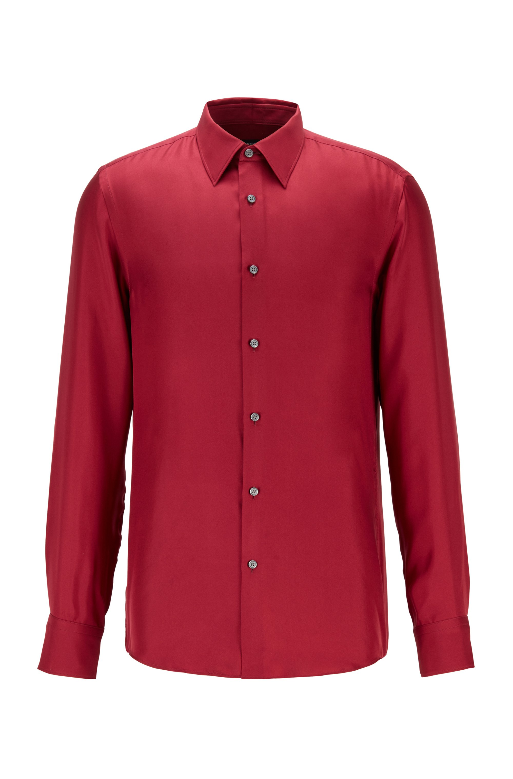 Slim-fit shirt in Italian silk twill, Dark Red