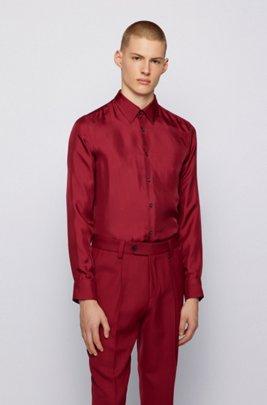 Slim-fit shirt in Italian silk twill, Dark Red