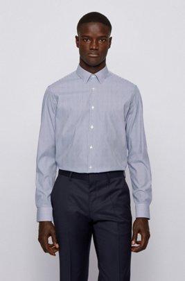Regular-fit overhemd van gestreepte stretchpopeline, Blauw