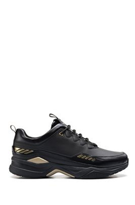 Running-inspired trainers with metallic accents, Black