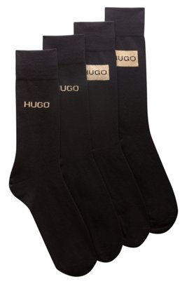 Two-pack of socks with gold-effect logos, Black