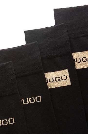 金色徽标中长袜两双装,  001_黑色