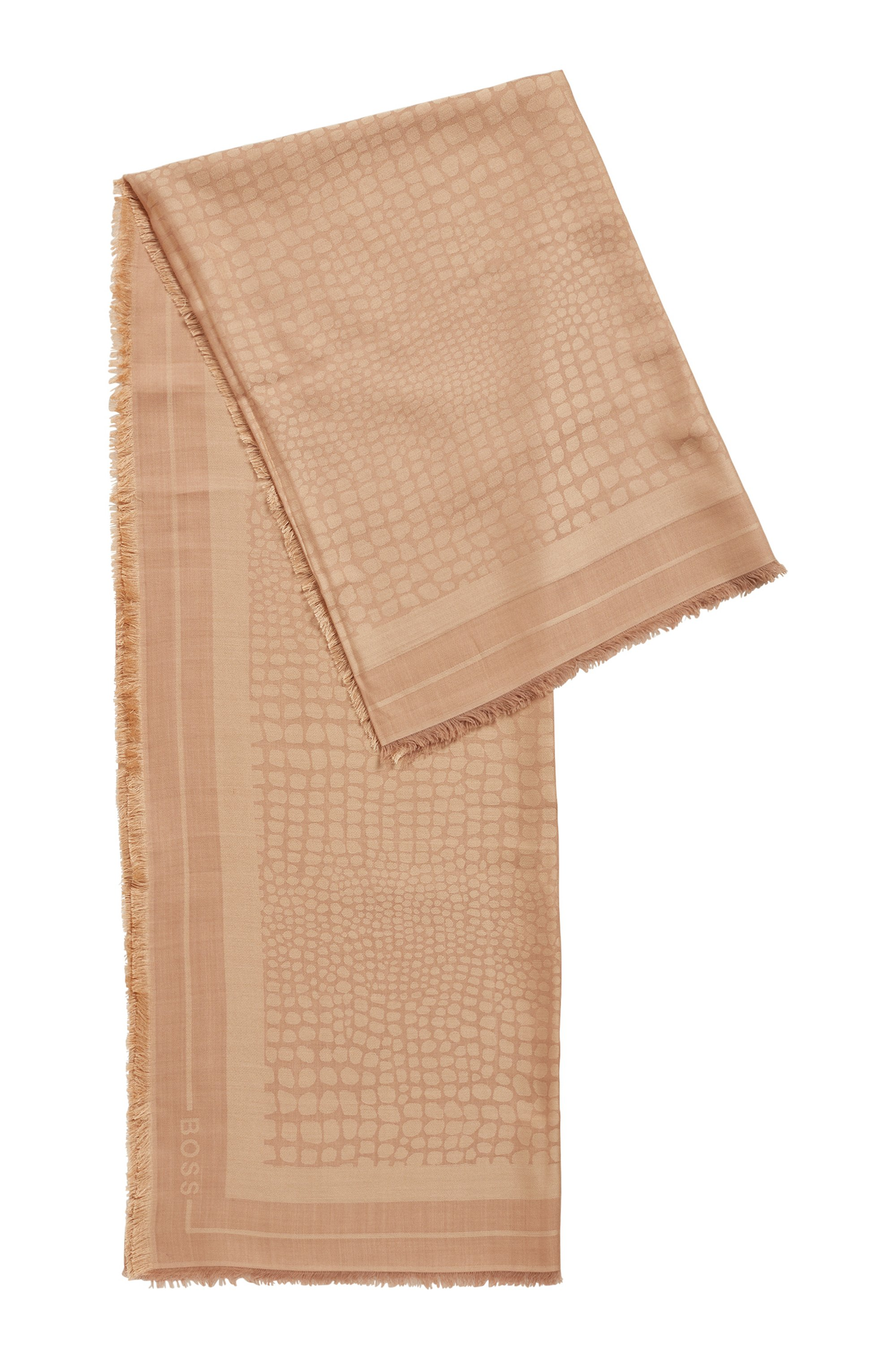 Square scarf in modal and wool with jacquard pattern, Beige