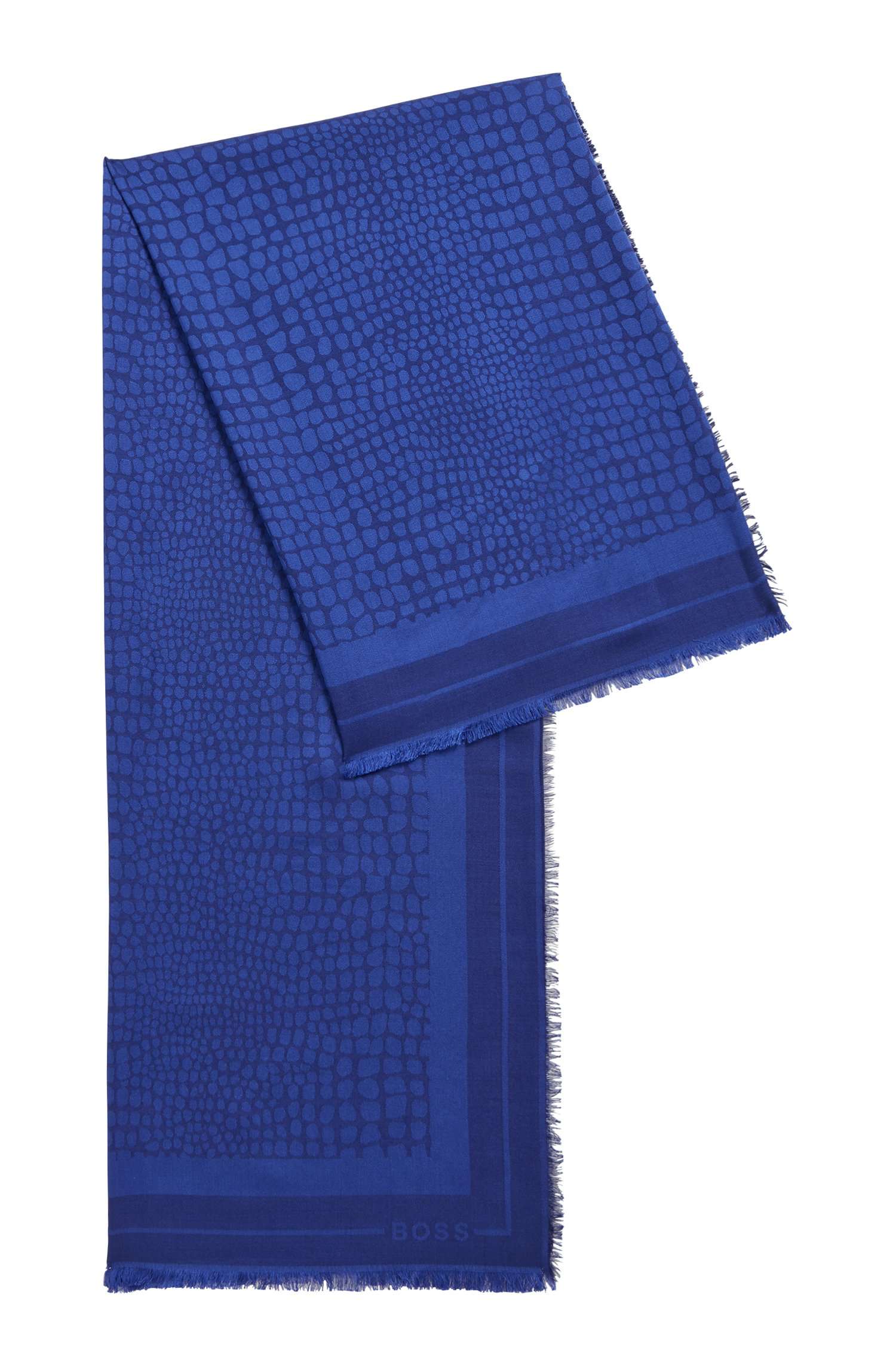 Quadratisches Tuch aus Modal und Wolle mit Jacquard-Muster, Dunkel Lila