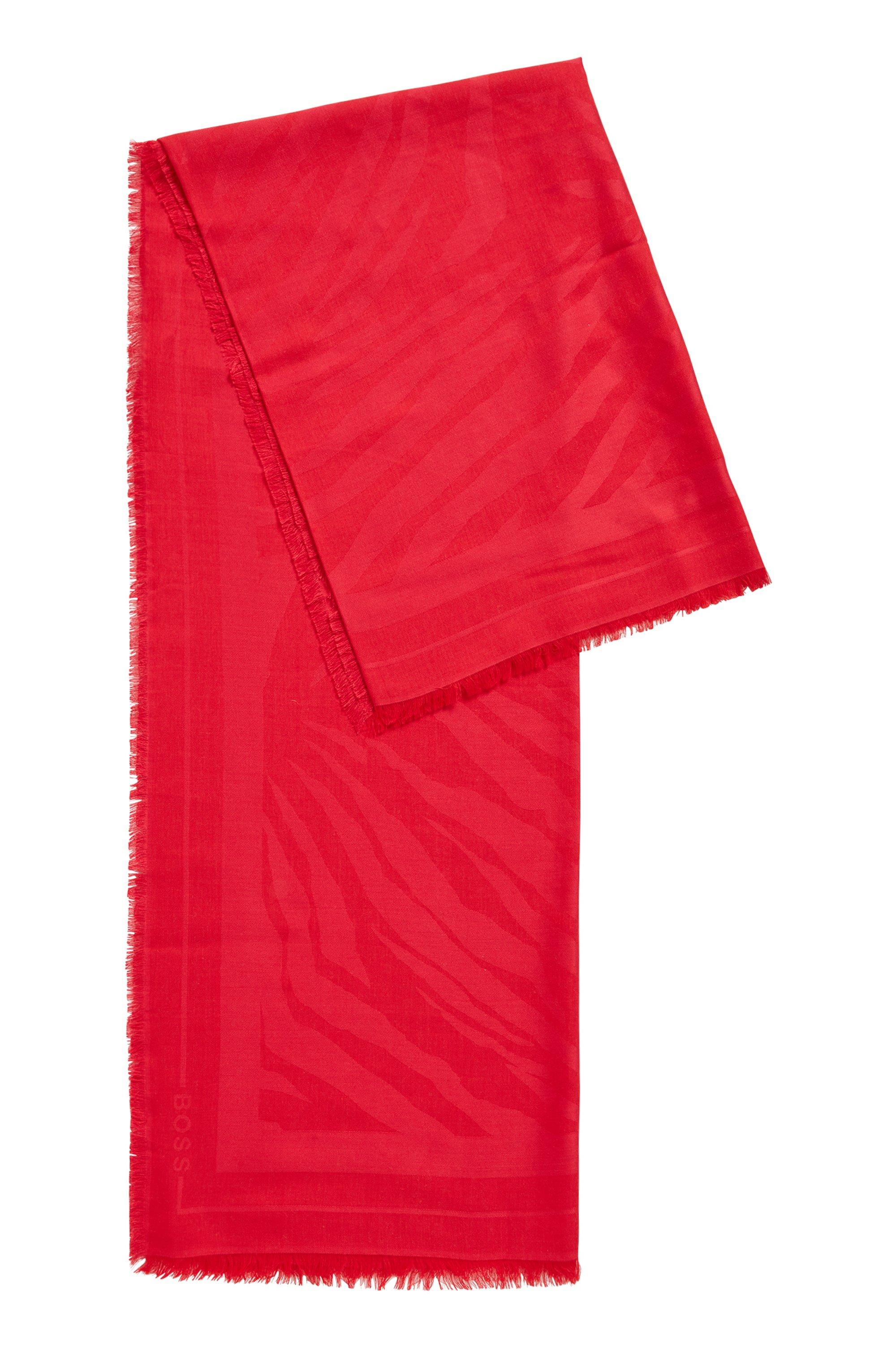 Quadratisches Tuch aus Modal und Wolle mit Jacquard-Muster, Pink