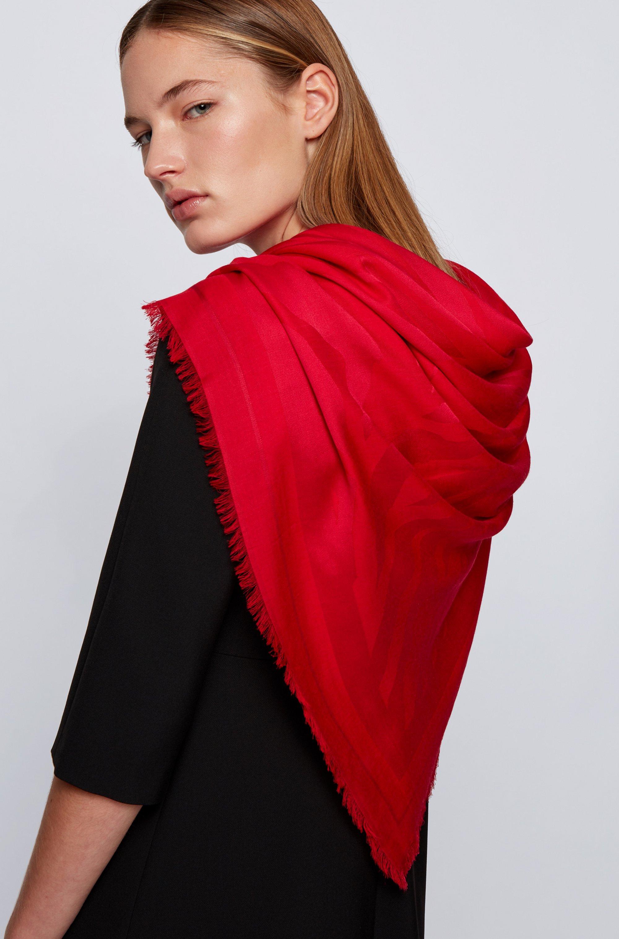 Quadratisches Tuch aus Modal und Wolle mit Jacquard-Muster