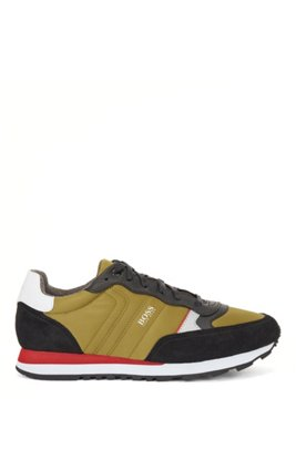 Retro-inspired running trainers with suede trims, Light Green