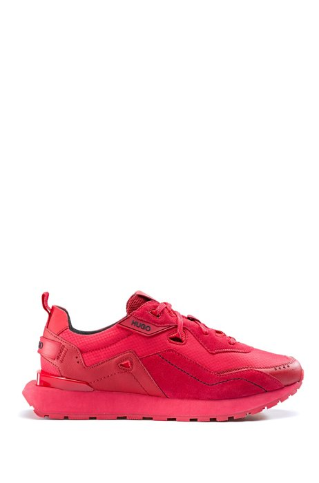 Hybrid-fabric trainers with bamboo-viscose lining, Red