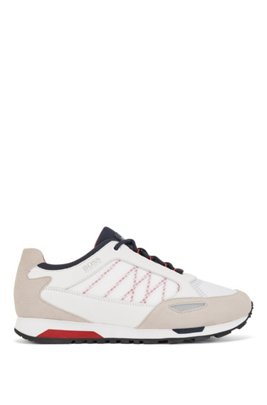 Running-style trainers in suede, leather and ripstop nylon, White