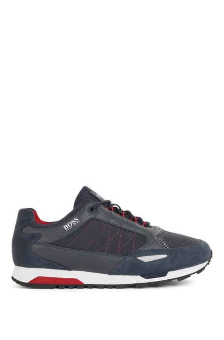 Running-style trainers in suede, leather and ripstop nylon, Dark Blue