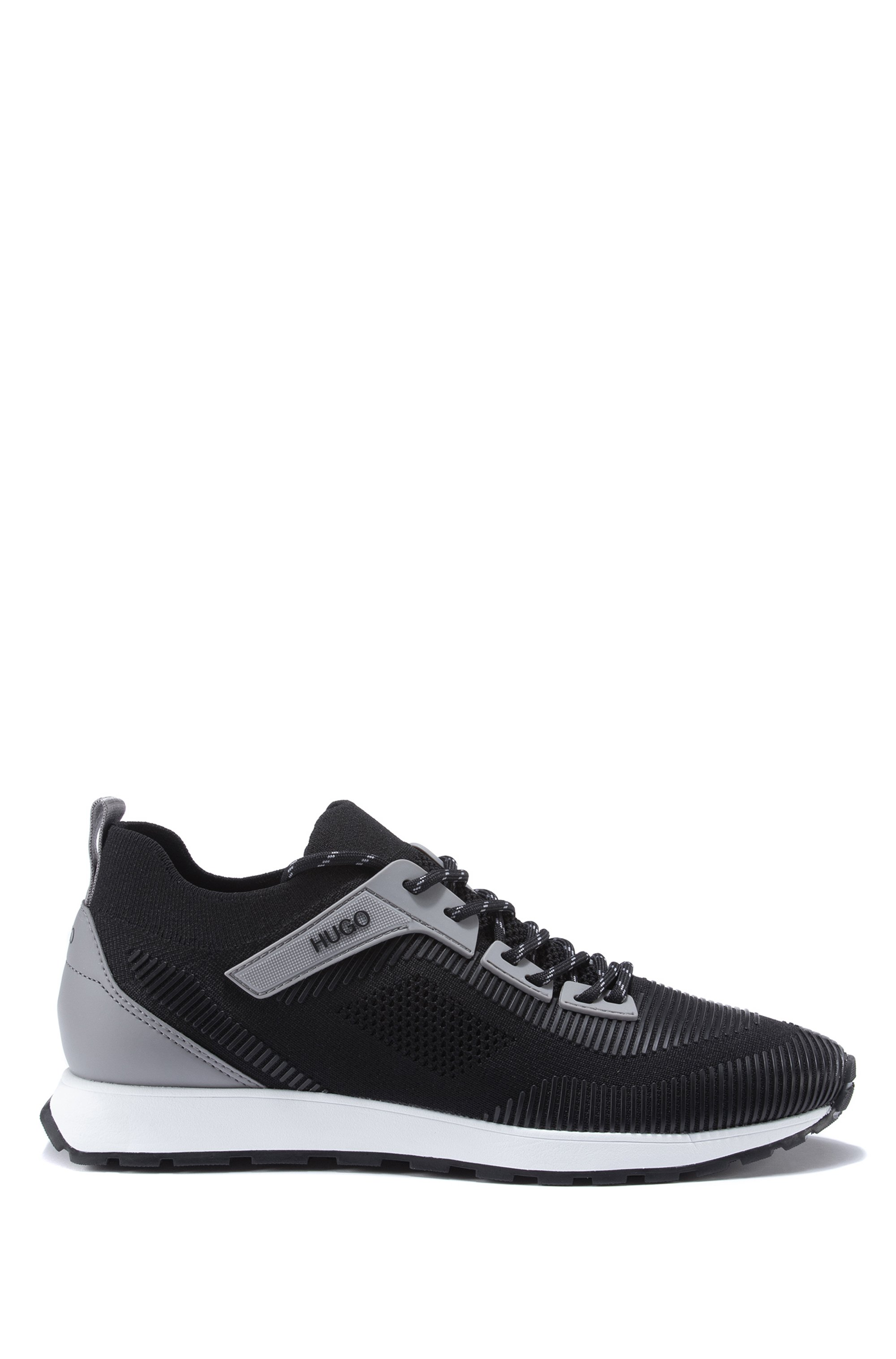 Lace-up sock trainers with EVA-rubber sole, Black