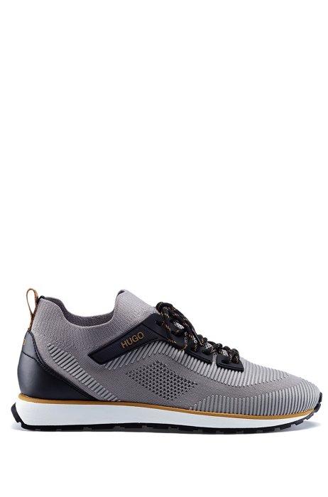 Sock-Sneakers mit EVA-Gummisohle und Schnürung, Grau
