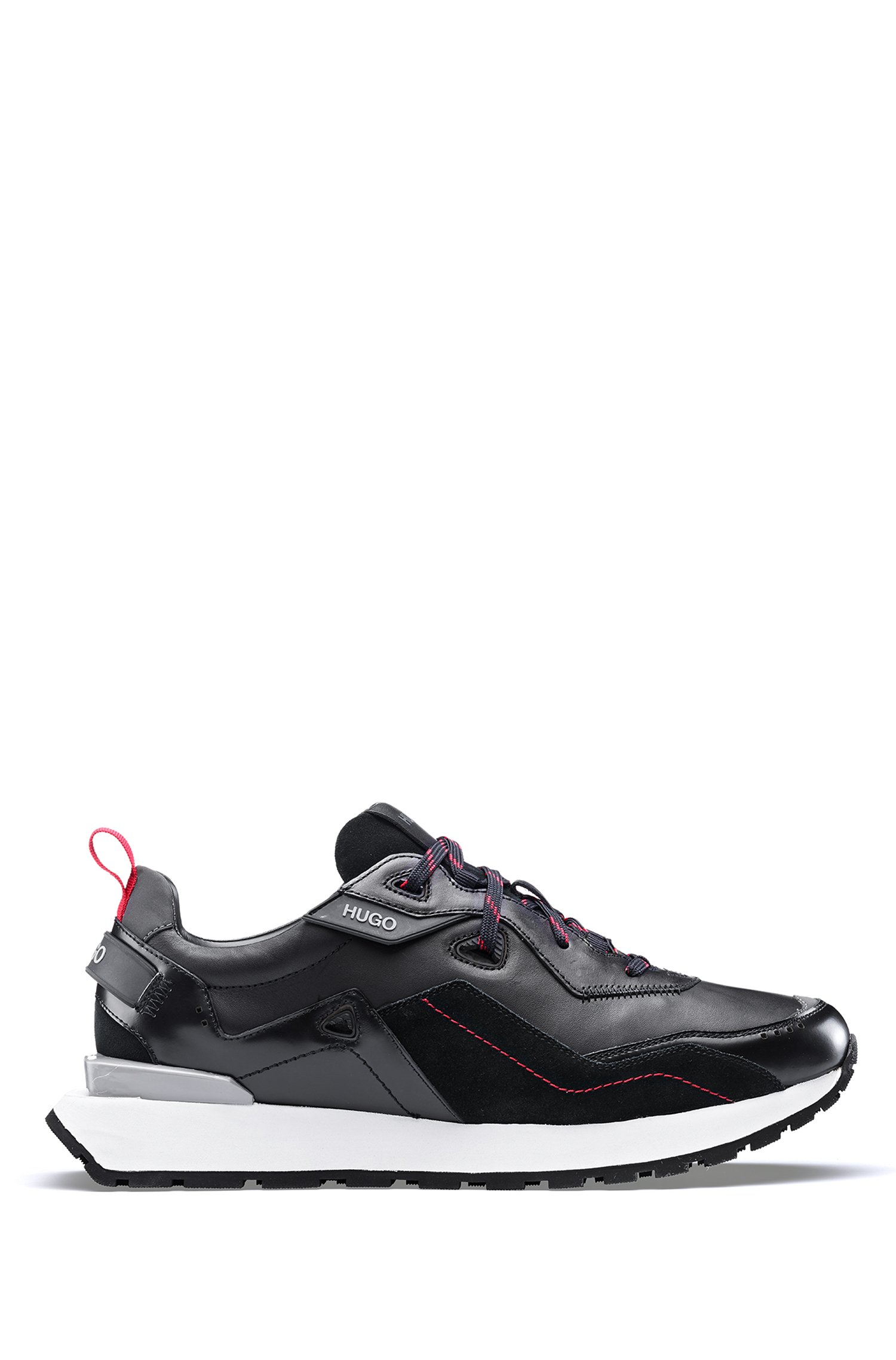 Running-inspired trainers in nappa leather with contrast laces, Black
