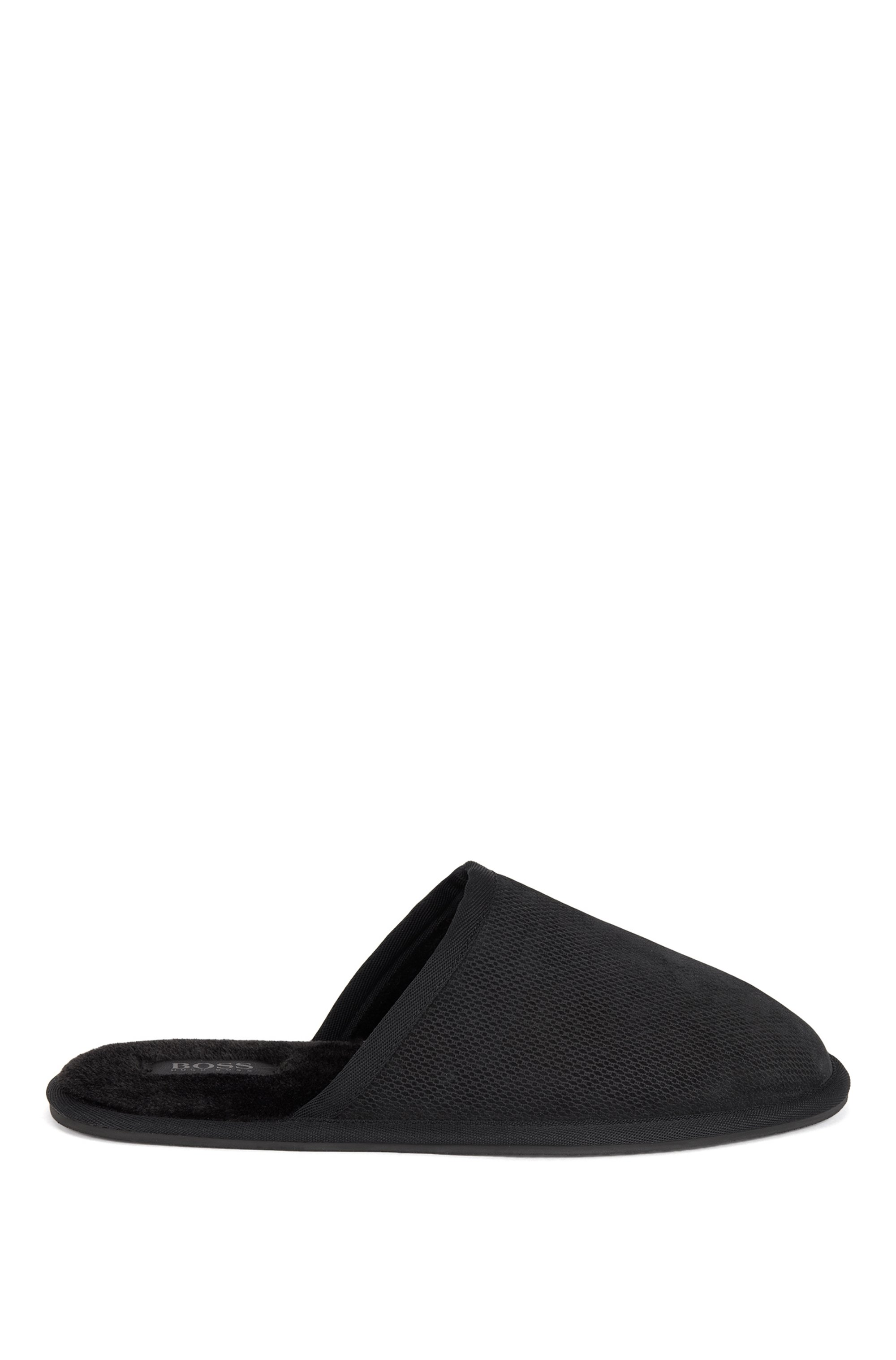 Monogrammed slippers in suede with faux-fur lining, Black