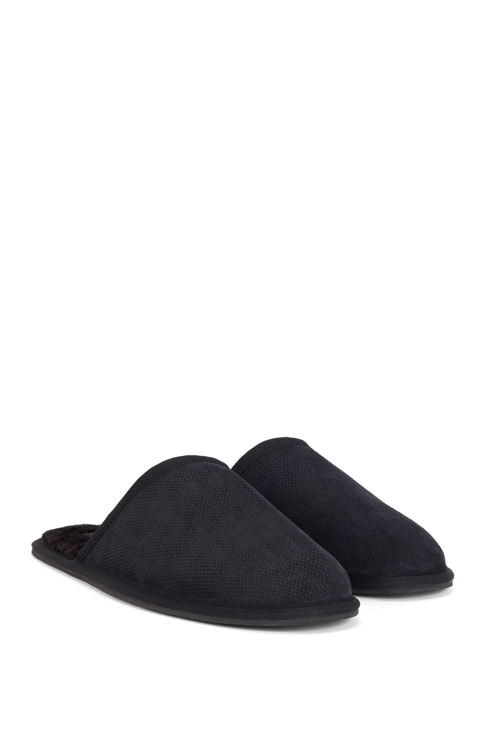 Monogrammed slippers in suede with faux-fur lining