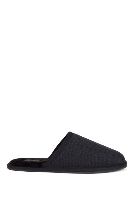 Monogrammed slippers in suede with faux-fur lining, Dark Blue