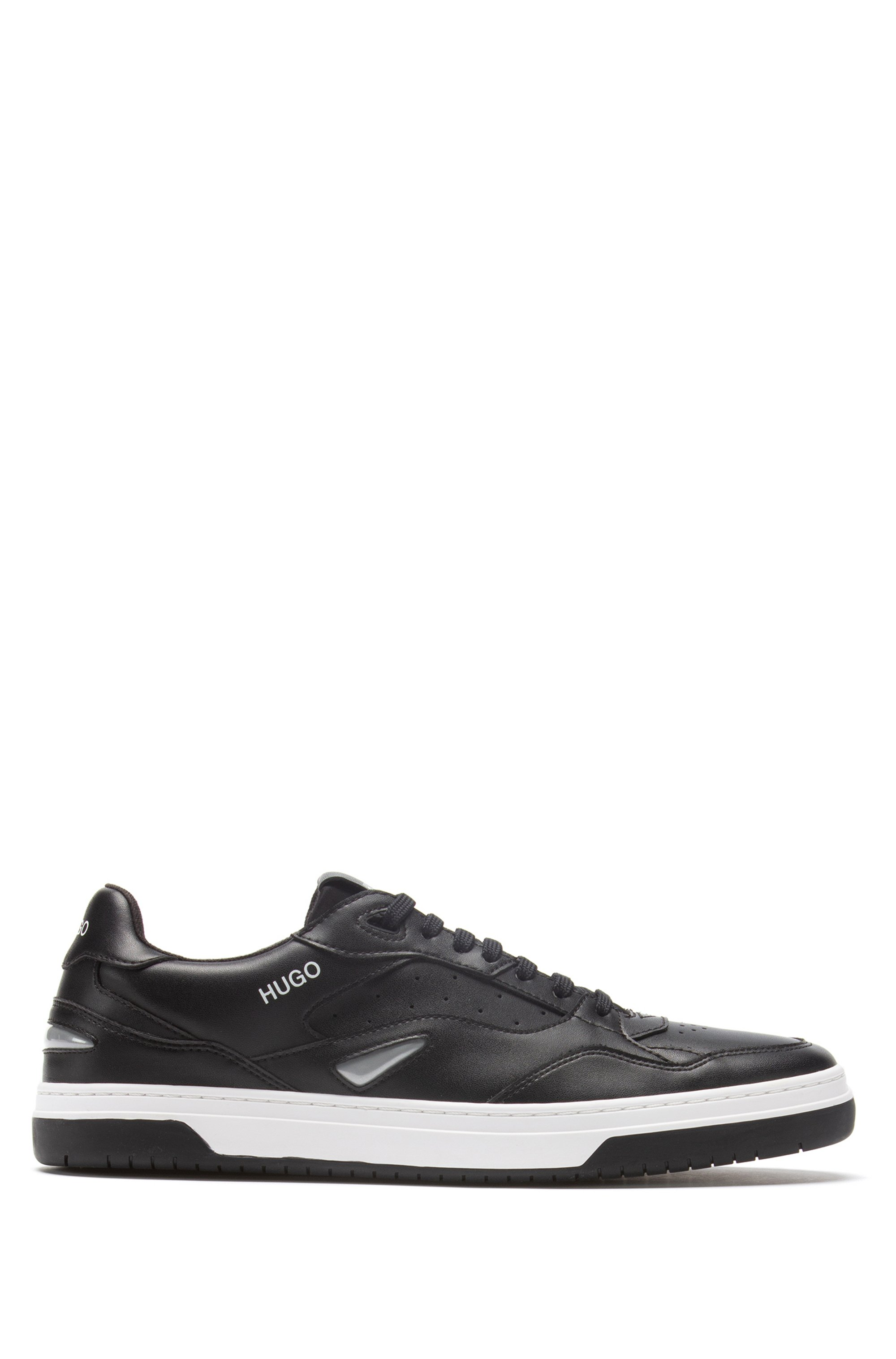Skate-inspired trainers with bonded-leather uppers, Black
